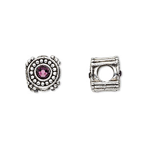 bead, dione, antique silver-plated pewter (tin-based alloy) and swarovski crystal rhinestone, amethyst purple, 10mm double-sided round, 5mm hole. sold individually.