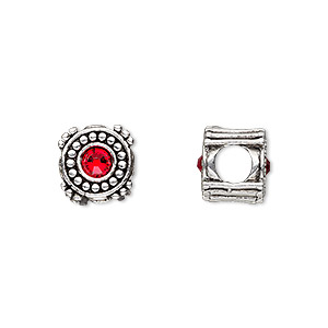 bead, dione, antique silver-plated pewter (tin-based alloy) and swarovski crystal rhinestone, ruby red, 10mm double-sided round, 5mm hole. sold individually.