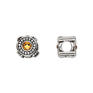 bead, dione, antique silver-plated pewter (tin-based alloy) and swarovski crystal rhinestone, golden topaz yellow, 10mm double-sided round, 5mm hole. sold individually.