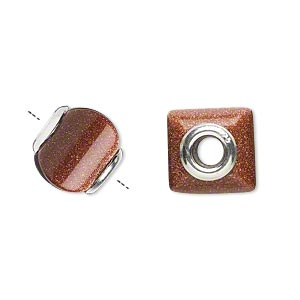 bead, dione, brown goldstone (manmade) and sterling silver grommets, 11x10mm-13x11mm square rondelle with 4mm hole. sold individually.