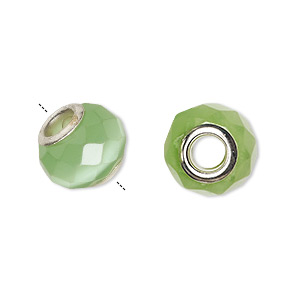 bead, dione, cats eye glass and silver-plated brass grommets, light green, 13x10mm-14x10mm faceted rondelle with 4.5-5mm hole. sold per pkg of 4.