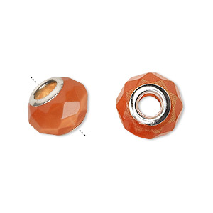 bead, dione, cats eye glass and silver-plated brass grommets, orange, 13x10mm-14x10mm faceted rondelle with 4.5-5mm hole. sold per pkg of 4.
