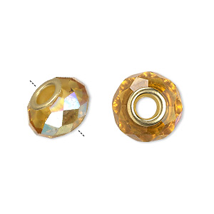 bead, dione, celestial crystal and gold-finished brass, 32-facet, gold ab, 13x9mm-14x10mm faceted rondelle with 4.5mm hole. sold per pkg of 10.