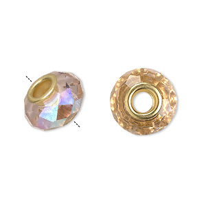 bead, dione, celestial crystal and gold-finished brass, 32-facet, pink ab, 13x9mm-14x10mm faceted rondelle with 4.5mm hole. sold per pkg of 10.