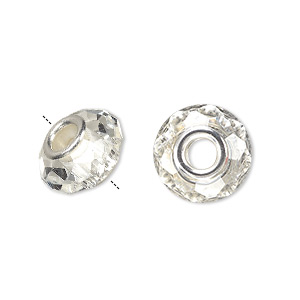 bead, dione, celestial crystal and silver-plated brass, 32-facet, clear, 13x9mm-14x10mm faceted rondelle with 4.5mm hole. sold per pkg of 10.