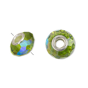 bead, dione, celestial crystal and silver-plated brass, 32-facet, green ab, 13x9mm-14x10mm faceted rondelle with 4.5mm hole. sold per pkg of 10.