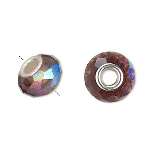 bead, dione, celestial crystal and silver-plated brass, 32-facet, medium purple ab, 13x9mm-14x10mm faceted rondelle with 4.5mm hole. sold per pkg of 10.