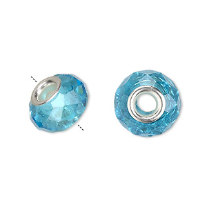 bead, dione, celestial crystal and silver-plated brass, 32-facet, turquoise blue, 13x9mm-14x10mm faceted rondelle with 4.5mm hole. sold per pkg of 10.
