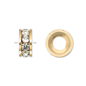bead, dione, czech crystal and gold-finished brass, crystal clear, 14x6mm rondelle with 7mm hole. sold per pkg of 2.