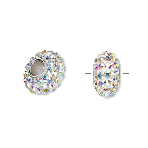bead, dione, czech glass rhinestone / epoxy / imitation rhodium-plated brass grommet, white and clear ab, 13x8mm-14x8mm rondelle, 4.5mm hole. sold individually.