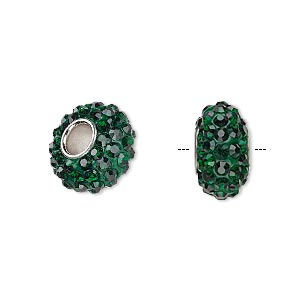 bead, dione, czech glass rhinestone / epoxy / imitation rhodium-plated brass grommet, green, 13x8mm-14x8mm rondelle, 4.5mm hole. sold individually.