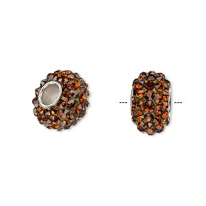 bead, dione, czech glass rhinestone / epoxy / imitation rhodium-plated brass grommet, root beer, 13x8mm-14x8mm rondelle, 4.5mm hole. sold individually.