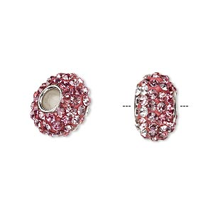 bead, dione, czech glass rhinestone / epoxy / imitation rhodium-plated brass grommet, pink / light pink / clear, 13x8mm-14x8mm rondelle with shaded design, 4.5mm hole. sold individually.