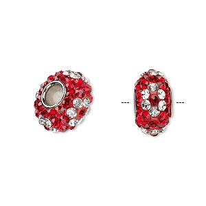 bead, dione, czech glass rhinestone / epoxy / imitation rhodium-plated brass grommet, red and clear, 13x8mm-14x8mm rondelle with flower design, 4.5mm hole. sold individually.