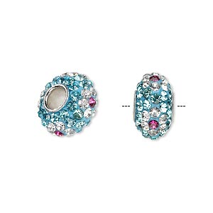 bead, dione, czech glass rhinestone / epoxy / imitation rhodium-plated brass grommet, turquoise blue / clear / pink, 13x8mm-14x8mm rondelle with flower design, 4.5mm hole. sold individually.