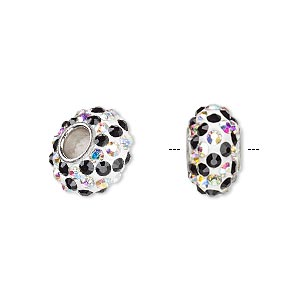 bead, dione, czech glass rhinestone / epoxy / imitation rhodium-plated brass grommet, clear ab / white / black, 13x8mm-14x8mm rondelle with spiral design, 4.5mm hole. sold individually.