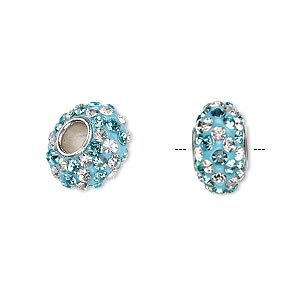 bead, dione, czech glass rhinestone / epoxy / imitation rhodium-plated brass grommet, turquoise blue and clear, 13x8mm-14x8mm rondelle with spiral design, 4.5mm hole. sold individually.