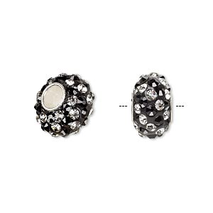 bead, dione, czech glass rhinestone / epoxy / sterling silver grommets, black and clear, 14x8mm rondelle with spiral design, 4.5mm hole. sold individually.