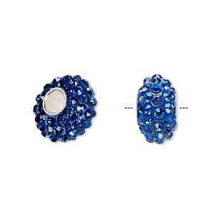 bead, dione, czech glass rhinestone / epoxy / sterling silver grommets, blue, 14x8mm rondelle, 4.5mm hole. sold individually.
