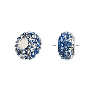 bead, dione, czech glass rhinestone / epoxy / sterling silver grommets, blue / light blue / clear, 14x8mm rondelle with shaded design, 4.5mm hole. sold individually.