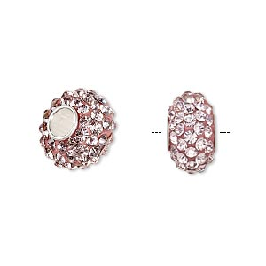 bead, dione, czech glass rhinestone / epoxy / sterling silver grommets, pink, 14x8mm rondelle, 4.5mm hole. sold individually.