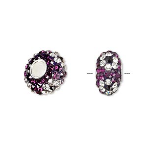 bead, dione, czech glass rhinestone / epoxy / sterling silver grommets, purple / clear / black, 14x8mm rondelle with flower design, 4.5mm hole. sold individually.