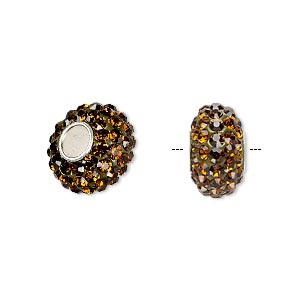 bead, dione, czech glass rhinestone / epoxy / sterling silver grommets, root beer, 14x8mm rondelle, 4.5mm hole. sold individually.