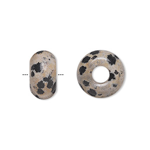 bead, dione, dalmatian jasper (natural), 14x8mm rondelle with 5mm hole, b grade, mohs hardness 6-1/2 to 7. sold per pkg of 2.