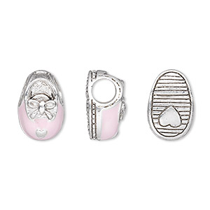 bead, dione, enamel and antique silver-plated pewter (tin-based alloy), baby pink, 15x10mm baby shoe with bow and heart on sole, 5mm hole. sold individually.