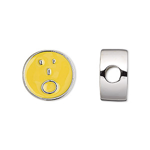 bead, dione, enamel and silver-finished pewter (zinc-based alloy), yellow, 16mm double-sided flat round with surprised emoticon face and 4mm hole. sold individually.