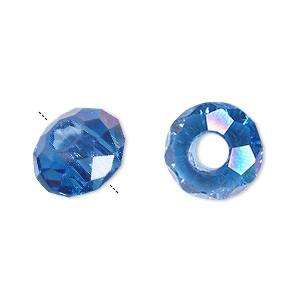 bead, dione, glass, 32-facet, medium blue ab, 14x8mm faceted rondelle with 5mm hole. sold per pkg of 12.