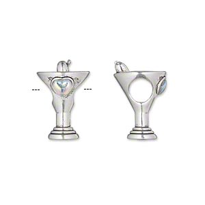 bead, dione, glass and antique silver-plated pewter (tin-based alloy), clear ab, 17x11.5mm martini glass, 5mm hole. sold individually.