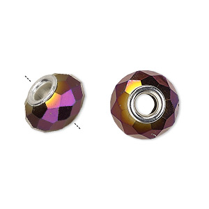 bead, dione, glass and silver-plated brass grommets, 32-facet, opaque metallic dark purple, 14x9mm faceted rondelle with 4-4.5mm hole. sold per pkg of 6.