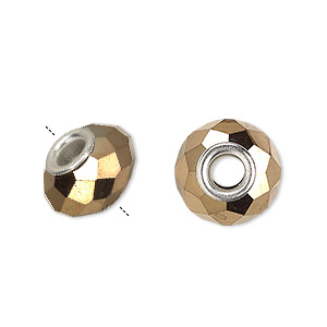 bead, dione, glass and silver-plated brass grommets, 32-facet, opaque metallic dark gold, 14x9mm faceted rondelle with 4-4.5mm hole. sold per pkg of 6.