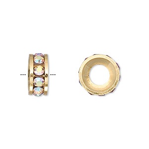bead, dione, gold-finished brass and czech crystal, crystal ab, 12x5mm rondelle with 6mm hole. sold per pkg of 2.