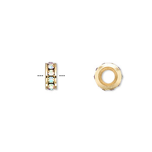 bead, dione, gold-finished brass and czech crystal, crystal ab, 8x3mm rondelle with 4mm hole. sold per pkg of 2.