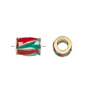 bead, dione, gold-finished pewter (zinc-based alloy) and enamel, opaque red and green, 12x9mm barrel with triangle design, 5mm hole. sold individually.