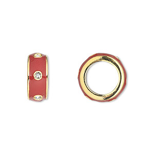bead, dione, gold-finished pewter (zinc-based alloy) and enamel with swarovski crystals, red and crystal clear, 14x5.5mm rondelle with 9.5mm hole. sold individually.