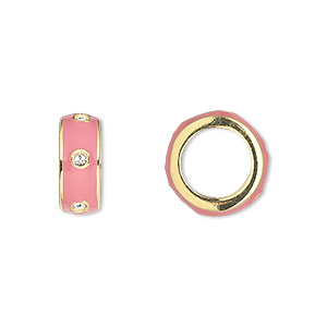 bead, dione, gold-finished pewter (zinc-based alloy) and enamel with swarovski crystals, pink and crystal clear, 14x5.5mm rondelle with 9.5mm hole. sold individually.