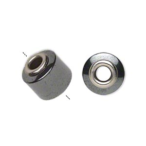 bead, dione, hemalyke™ (manmade) and imitation rhodium-plated brass grommets, 13x12mm round tube with 4-4.5mm hole. sold per pkg of 4.
