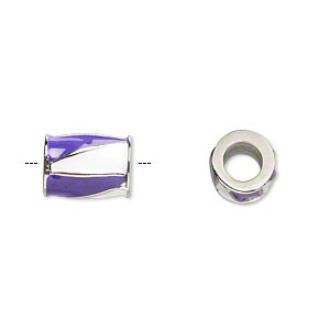 bead, dione, imitation rhodium-finished pewter (zinc-based alloy) and enamel, opaque purple and white, 12x9mm barrel with triangle design, 5mm hole. sold individually.