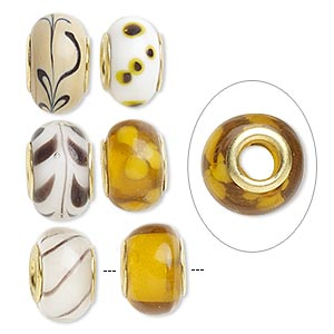 bead, dione, lampworked glass and gold-finished brass grommets, transparent brown and opaque multicolored, 12x8mm-16x9mm rondelle with assorted designs, 4.5-5mm hole. sold per pkg of 6.