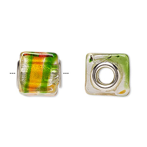 bead, dione, lampworked glass and silver-plated brass grommets, multicolored with silver-colored foil, 14x12mm cube with stripe, 5mm hole. sold per pkg of 4.