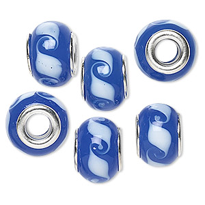 bead, dione, lampworked glass with silver-plated brass grommets, opaque blue and white, 14x9mm rondelle with waves and 4.5-5mm hole. sold per pkg of 6.