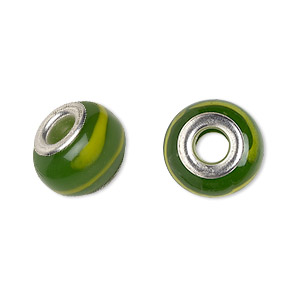 bead, dione, lampworked glass with silver-plated brass grommets, semitransparent green and yellow, 14x9mm rondelle with stripes, 4.5-5mm hole. sold per pkg of 6.