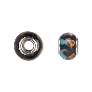 bead, dione, lampworked glass with silver-plated steel grommets, black with brown and blue swirls, 14x10mm rondelle with 4.5-5mm hole. sold per pkg of 6.