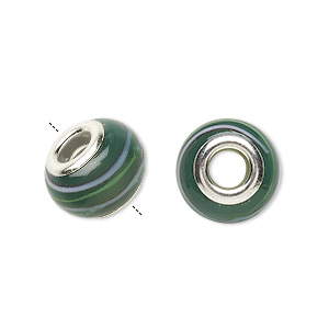 bead, dione, lampworked glass with silver-plated steel grommets, dark green and multicolored, 14x10mm rondelle with stripes, 4.5-5mm hole. sold per pkg of 6.
