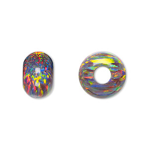 bead, dione, mexican opal (man-made) and epoxy, multicolored, 14x9mm rondelle, 5mm hole. sold individually.