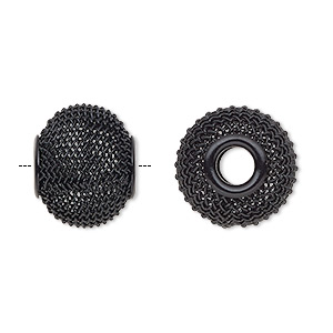 bead, dione, painted steel, black, 16x13mm mesh rondelle with 4.5mm hole. sold per pkg of 6.