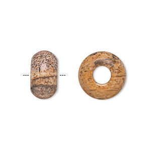 bead, dione, picture jasper (natural), 14x8mm rondelle with 5mm hole, b grade, mohs hardness 6-1/2 to 7. sold per pkg of 2.